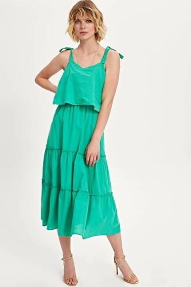 DeFacto Askılı Uzun Elbise Yeşil